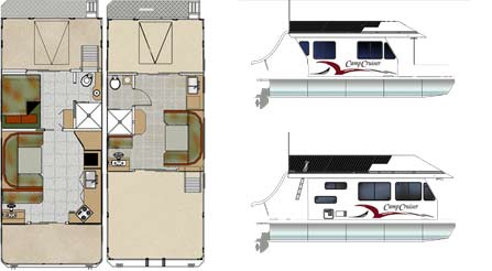 CampCruiser3112 Houseboat Floorplan