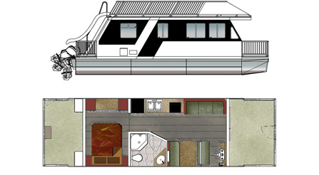 TrailCruiser Houseboat Floorplan