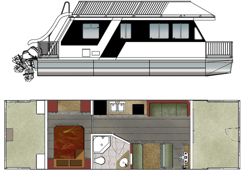 Houseboat plans for Boat house plans pictures